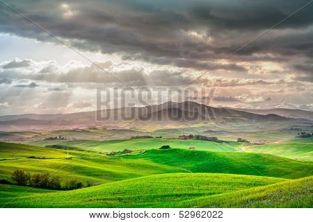 Tuscany, Rural Sunset Landscape. Countryside Farm, White Road And Cypress Trees. poster
