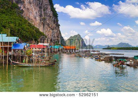 Koh Panyee settlement built on stilts of Phang Nga Bay, Thailand