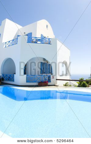 Cyclades Greek Island Architecture With Swimming Pool