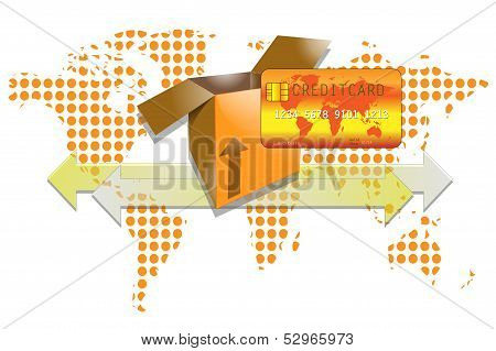 Illustration Of Transport Box With Creditcard And World Background