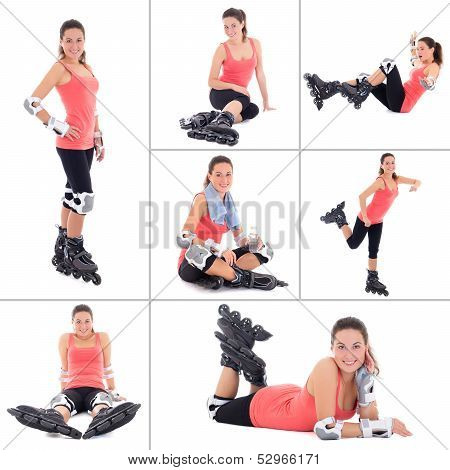 Collage Of Young Sporty Woman On Roller Skates Isolated On White Background