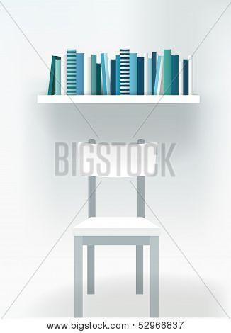 Modern interior design. chair and book shelf. Furniture.