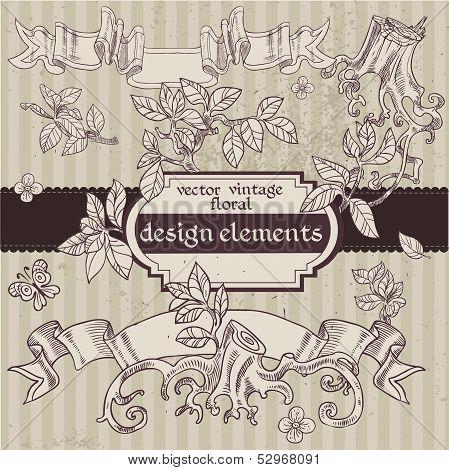 Set of vector vintage magic fairytale floral design elements