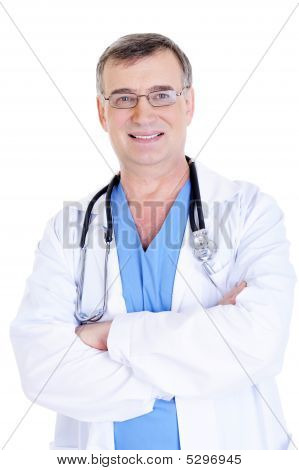 Cheerful Successful Male Doctor With Stethoscope