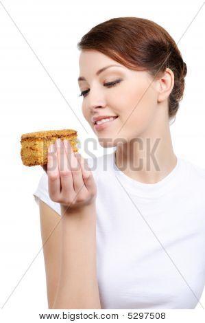 Cute Woman Eating Cake
