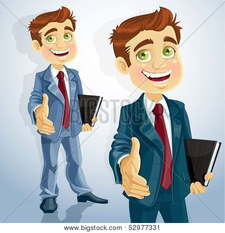 Cute businessman gives his hand to greet