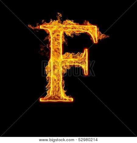 Fire alphabet letter F isolated on black background.