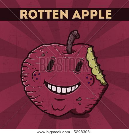 Funny, Cartoon, Malicious, Violet Monster Apple, On The Scratchy Retro Background. Vector Illustrati