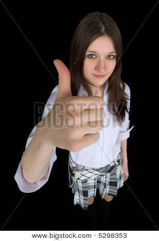 Comical Girl Showing Gesture - Thumb Up