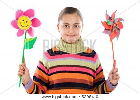 Girl With Two Windmill