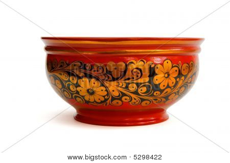 Lacquered Painted Russian Bowl Isolated