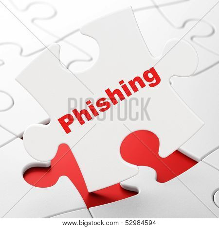 Privacy concept: Phishing on puzzle background