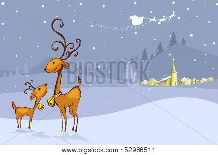illustration of Reindeer in Christmas Night