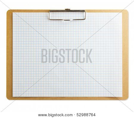 Horizontal clipboard with blank graph paper or (scaled paper). Isolated on pure white . Square to image dimension.
