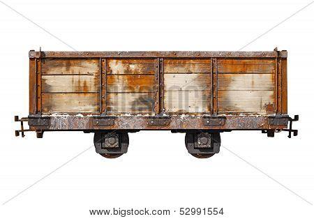 Vintage Rusty Car For The Narrow-gauge Railway