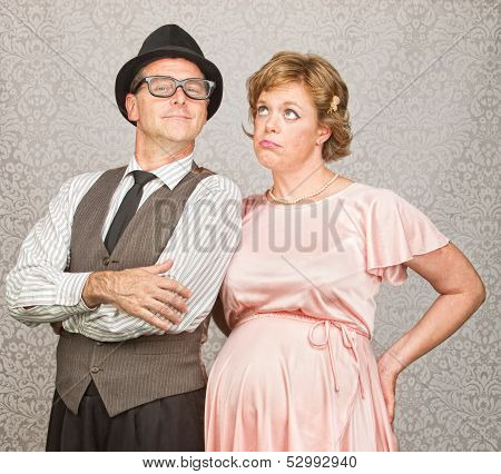 Man With Bored Pregnant Woman