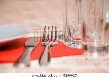 Table With Dishware Closeup