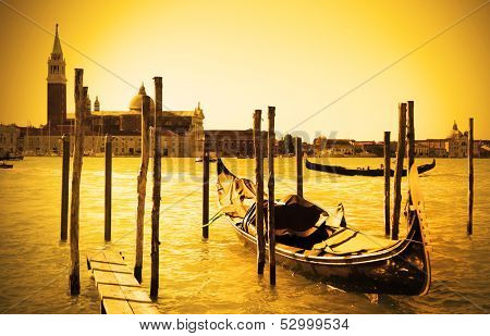 Gondola near and San Giorgio di Maggiore church in the background, Venice, Italy
