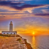 pic of mola  - La Mola Cape Lighthouse Formentera at sunrise in Balearic Islands - JPG