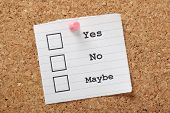 stock photo of yes  - Tick boxes for Yes - JPG