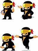 stock photo of ninja  - A vector set of ninja in several poses - JPG