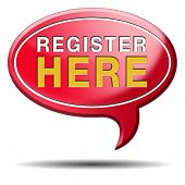 register here en no sign or icon. Membership registration sticker.
