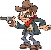 image of gunslinger  - Cartoon gunslinger cowboy - JPG