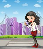 image of pedestrians  - Illustration of a lady with a black stockings standing at the pedestrian lane - JPG