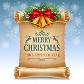 stock photo of christmas bells  - Merry Christmas greeting card with golden jingle bells and old scroll paper - JPG