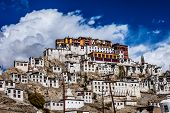 stock photo of lamas  - Thiksey Monastery in city Ladakh in India - JPG