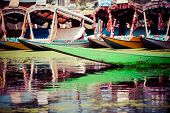 stock photo of jammu kashmir  - Shikara boat in Dal lake Kashmir India - JPG
