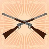 picture of divergent  - Two old rifle on an abstract background - JPG