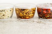 stock photo of stir fry  - stir fry dinner meal or leftovers stored in glass containers - JPG