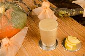 stock photo of glass-wool  - Lambws wool tipical drink of Halloween with ghosts - JPG