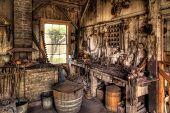 picture of blacksmith shop  - Old Blacksmith Shop in the American West - JPG