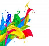 stock photo of paint spray  - Colorful Paint Splash Isolated on White Background - JPG