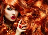 stock photo of lipstick  - Long Curly Red Hair - JPG
