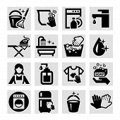 picture of dust-bin  - Elegant Black Cleaning Icons Set - JPG