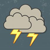 stock photo of thunder-storm  - Vector illustration of cool single weather icon  - JPG