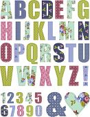 picture of decoupage  - Floral Vector Pattern Alphabet Letter Set - JPG