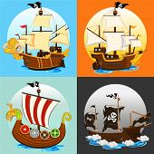 stock photo of historical ship  - An Illustration Of Various Pirate Ship  - JPG