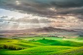 stock photo of farm landscape  - Tuscany rural sunset landscape - JPG