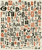 stock photo of alphabet  - Whimsical Hand Drawn Alphabet Letters and Keystrokes  - JPG