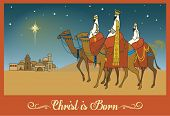 stock photo of wise  - Three Wise Men Following the Bethlehem Star  - JPG
