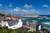 picture of st ives  - View of St Ives Cornwall England with harbour - JPG