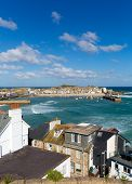 stock photo of st ives  - View of St Ives Cornwall England with harbour - JPG