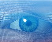 foto of binary code  - eye viewing electronic information - JPG