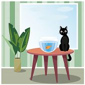 stock photo of misbehaving  - Vector illustration of black naughty cat who sits on table looks at fish in aquarium - JPG