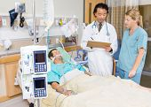 pic of dialysis  - Dialysis machine with patient and doctor in background at hospital - JPG