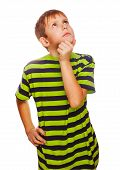 picture of scratching head  - blond kid boy in green T - JPG